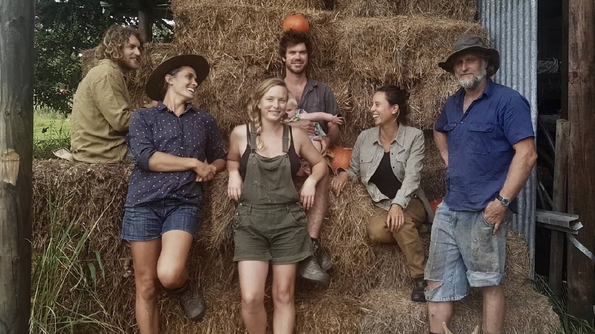 NORTH ARM FARMS: From left, Tom Macindoe, Camilla Bonnici, Kerryn Mcfarlane, Alex Coulombe (with Tansy), Kaycee Simuong and Bryce King