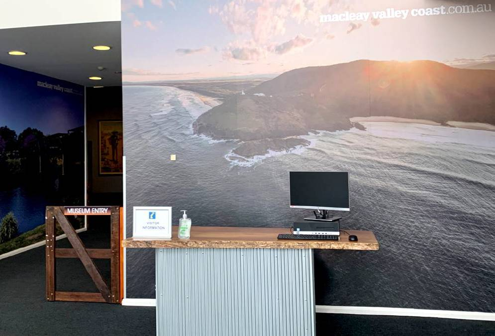 The new Macleay Valley Coast Visitor Centre has Josh's photo of South West Rocks as the background. Photo: Supplied