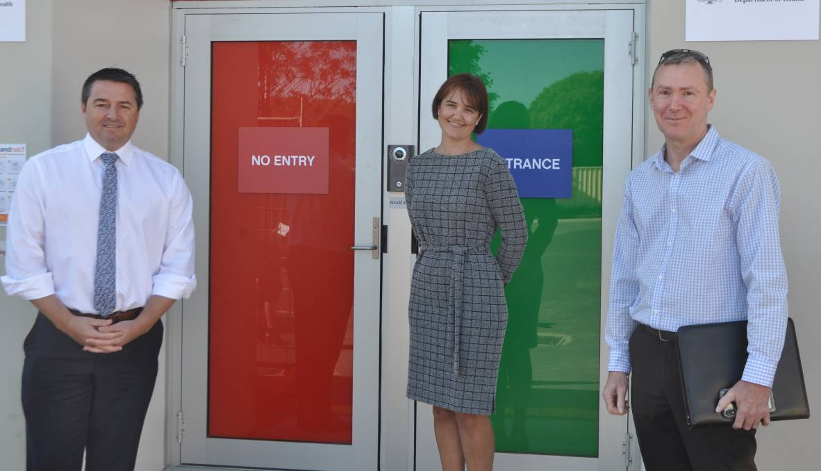 Federal Member for Cowper Pat Conaghan, Sheree Smith and Stephen Mann from Mid North Coast Health visited the new clinic ahead of its opening this week. Photo: Stephen Katte